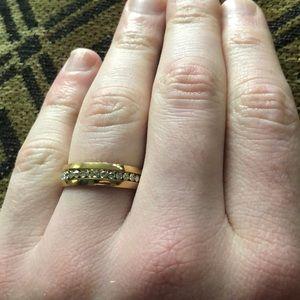 8MM Gold Diamond Row Ring